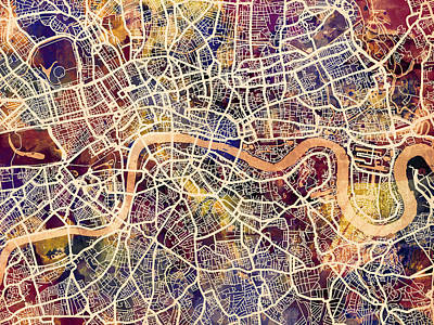 Abstract Map Digital Art - London England Street Map by Michael Tompsett