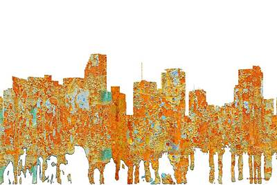 Digital Art - Miami Florida Skyline by Marlene Watson