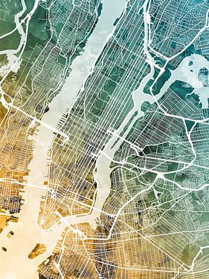 Digital Art - New York City Street Map by Michael Tompsett