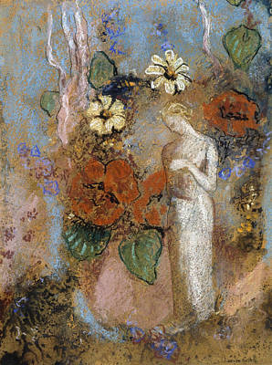 Pandora Drawing - Pandora by Odilon Redon