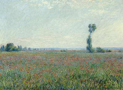 Print Of Poppy Painting - Poppy Field by Claude Monet