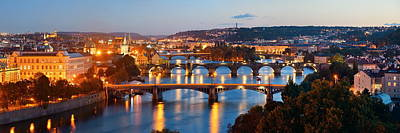 Photograph - Prague Skyline And Bridge  by Songquan Deng