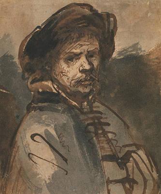 Self Portrait Drawing - Self-portrait by Rembrandt