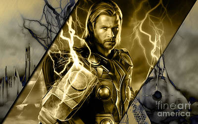 The Avengers Mixed Media - Thor Collection by Marvin Blaine
