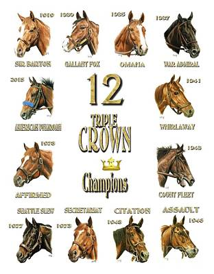 12 Triple Crown Winners Art Print