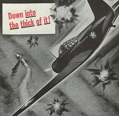 Wwii Propaganda Drawing - World War II Advertisement by American School