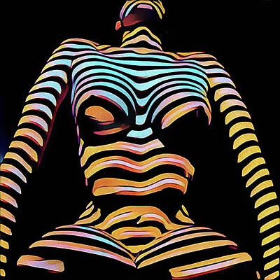Digital Art - 1205s-mak Seated Figure Zebra Striped Nude Rendered In Composition Style by Chris Maher