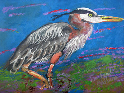 Painting - 121615 Great Blue Heron by Garland Oldham