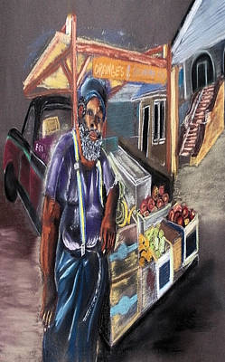 Pastel - 121815 Vegetable Vendor by Garland Oldham