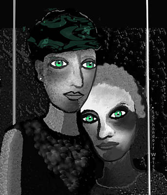 Digital Art - 1231  Spiritual Compagnons  2017 A by Irmgard Schoendorf Welch