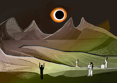 Digital Art - 1234  Eclipse Of The Sun V  by Irmgard Schoendorf Welch
