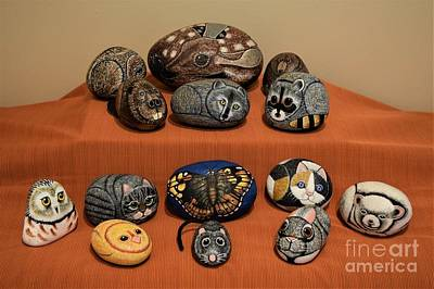 Raccoon Mixed Media - Rock Animals by Sharon Patterson