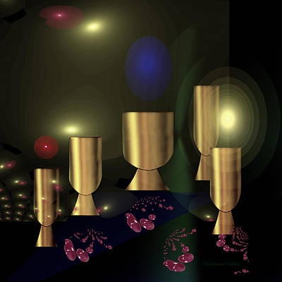 Painting - 1235 - Golden Goblets by Irmgard Schoendorf Welch