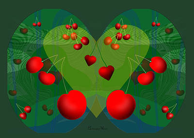 Painting - 1224 - Cherry Cherry Heart by Irmgard Schoendorf Welch
