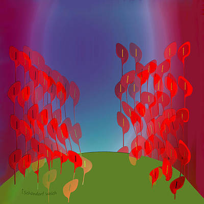 Painting - 1218 - Red Flowers by Irmgard Schoendorf Welch