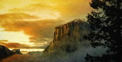 Sunrise Painting - A Landscape Nature by Margaret J Rocha