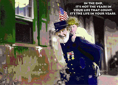 Stars And Stripes Mixed Media - Motivational Quotes by Charles Shoup