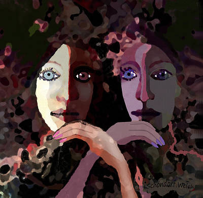 Painting - 1258 - Pensive  Ladies ... by Irmgard Schoendorf Welch