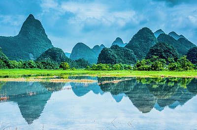 Photograph - Karst Rural Scenery In Raining by Carl Ning
