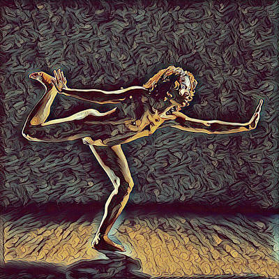 Digital Art - 1262s-zac Nude Dancer Ams Out In The Style Of Antonio Bravo  by Chris Maher