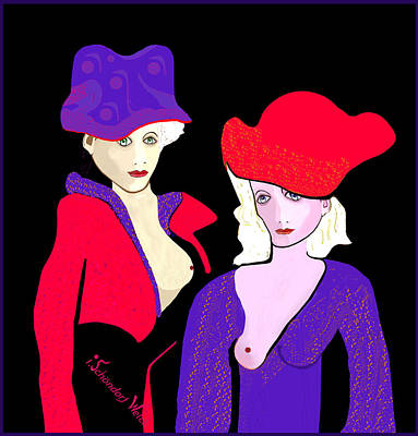 Digital Art - 1267 - Two Nice Hats 2017 by Irmgard Schoendorf Welch