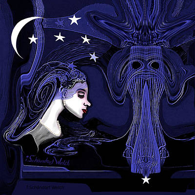 Digital Art - 128 - Melancholy Lady With Moon And Stars 2017 by Irmgard Schoendorf Welch