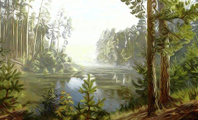 Valley Painting - Nature Landscape Nature by Edna Wallen