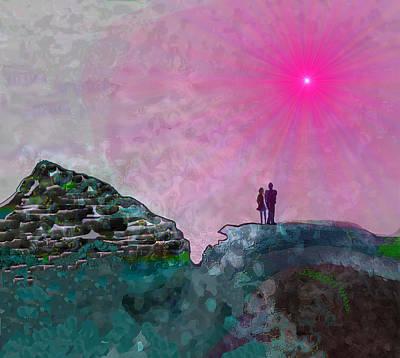 Digital Art - 1292 - Departure To The Red Sun 2017 by Irmgard Schoendorf Welch