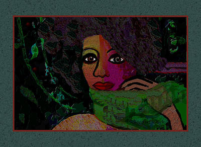 Digital Art - 1294 - Lady With A Green Scarf 2017 by Irmgard Schoendorf Welch