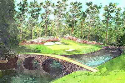Mixed Media - 12th Hole At Augusta National Watercolor by Ken Figurski