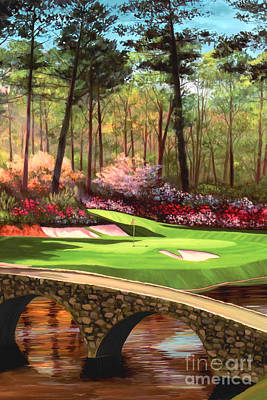 Golf Painting - 12th Hole At Augusta Ver by Tim Gilliland