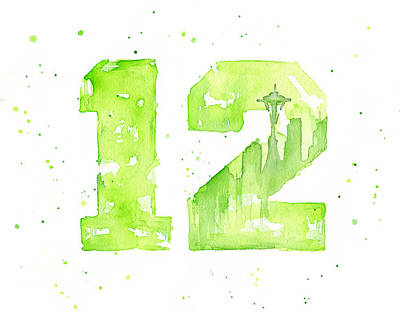 Seahawks Painting - 12th Man Seahawks Art Go Hawks by Olga Shvartsur