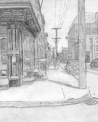 Philadelphia Street Drawing - 12th St. And Montrose St.,phila.,pa   1953 by Michael Cifone