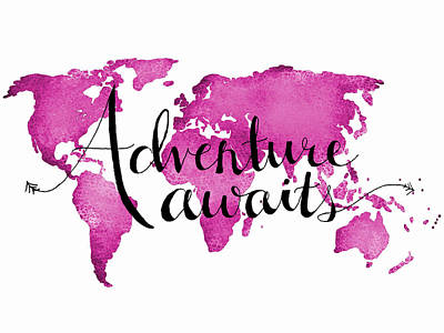 World Map Digital Art - 12x16 Adventure Awaits Pink Map by Michelle Eshleman