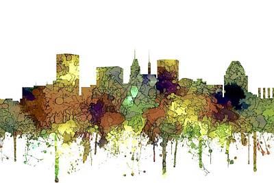 Digital Art - Baltimore Maryland Skyline by Marlene Watson