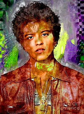 Music Mixed Media - Bruno Mars by Marvin Blaine