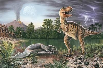 Cretaceous-tertiary Extinction Event Art Print by Richard Bizley