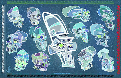 Cartoon Characters Digital Art - 13 Crystal Skulls by Nelson Dedos Garcia