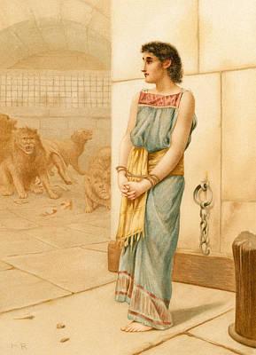 Daniel In The Lions' Den Art Print by English School
