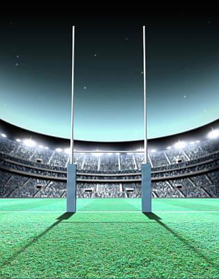 Rugby Union Digital Art - Floodlit Stadium Night by Allan Swart
