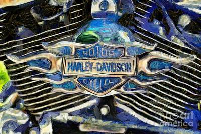Harley Davidson Painting - Harley-davidson Badge by George Atsametakis
