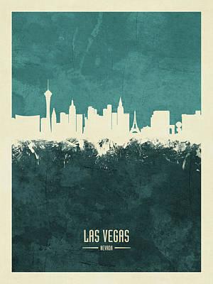 Digital Art - Las Vegas Nevada Skyline by Michael Tompsett