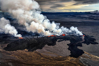 Lava And Plumes From The Holuhraun Art Print by Panoramic Images