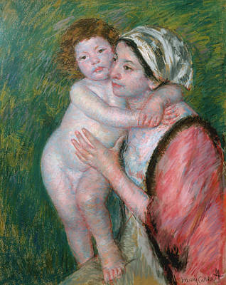 Nudity Painting - Mother And Child by Mary Cassatt