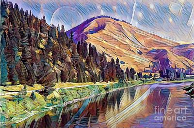 Buy Tshirts Digital Art - Mountains Landscape by Gaby Veganmaniac