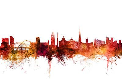 Digital Art - Newcastle England Skyline by Michael Tompsett