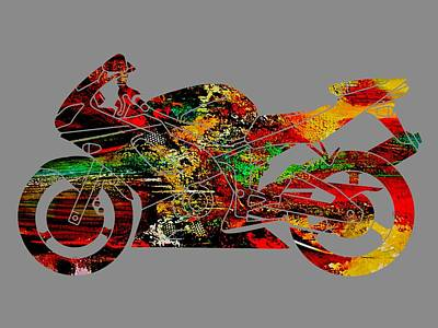 Mixed Media - Ninja Motorcycle by Marvin Blaine