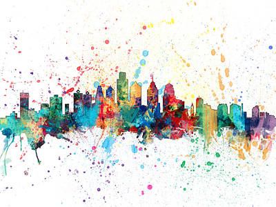 Philadelphia Pennsylvania Skyline Print by Michael Tompsett