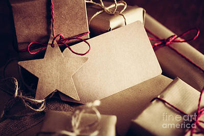 Surprise Photograph - Rustic Retro Gift, Present Boxes With Tag. Christmas Time, Eco Paper Wrap. by Michal Bednarek