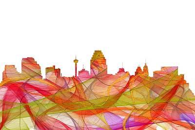 Digital Art - San Antonio Texas Skyline by Marlene Watson